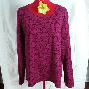 Kim Roger's blouse XL 95% Cotton 5% Spandex lsl